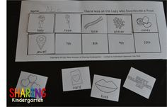Check out this FREEBIE sequencing sheet for There Was an Old Lady Who Swallowed a Rose