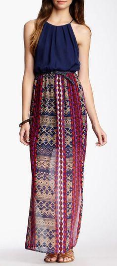 As U Wish Solid  Print Halter Maxi Dress