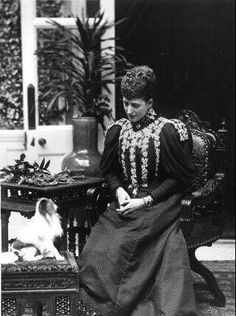 The Princess of Wales with a pet.