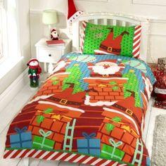 Pościel #Świąteczna - Mikołaj w kominie. Ciepła i miłą w dotyku pościel ze świątecznymi motywami.