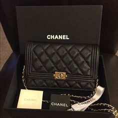 Chanel boy wallet on chain in caviar gold hardware Brand new, comes with everything in the picture, price reflects product. No trades CHANEL Bags Crossbody Bags