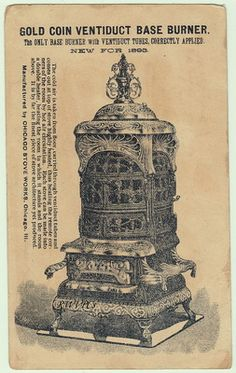 1893 Gold Coin Stoves Ranges Victorian Trade Card Base Burner Graphic Chicago
