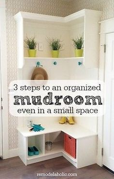 No matter the size of your household, odds are that the entry of your home easily becomes cluttered with the everyday necessities: bags, shoes, hats, etc. Creating a drop zone or mudroom area in your home. Laundry Room Storage, Foyer Decorating, My New Room, Home Organization, Organizing, Getting Organized, Home Projects, Home Remodeling, Diy Furniture