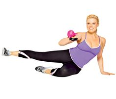 Nine Slimming Kettlebell Moves: Try this 'Slimming Sweeper' move to work arms, abs, obliques, butt, and thighs #SelfMagazine