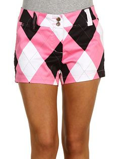 argyle pink & black shorts just need a black golf top.