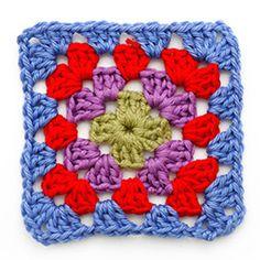 granny square haakpatroon in kleur