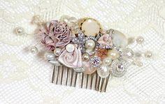 Blush Bridal Comb or ClipVintage Bridal Hair Clip by BrassBoheme, $62.00