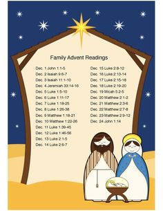 Daily scripture readings for advent for the family Advent Scripture, Christmas Scripture, Christmas Prayer, 25 Days Of Christmas, Scripture Reading, Christmas Countdown, Christmas Holidays, Daily Scripture, Christmas Nativity