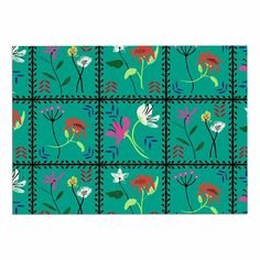 KESS InHouse Dlkg Design 'Simple Garden Tiles' Floral Coral Dog Place Mat, 13' x 18' -- Don't get left behind, see this great dog product : Dog food container