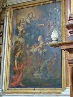 """Palermo.  """"Santa Rosalia incoronata dalla Vergine"""": tela attribuita a Filippo Randazzo nella Chiesa di Sant'Ignazio all'Olivella di Filippo Randazzo"""