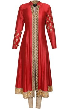 Red embroidered zipper kalidaar set available only at Pernia's Pop Up Shop.#HappyShopping #love #shopnow #anjumodi#festive #new #perniaspopupshop