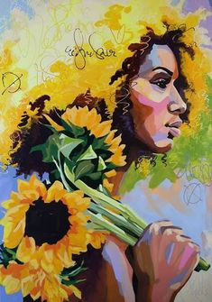 The yellow flowers speaks volumes to her soul surrounding her in gold❣️❣️❣️ Amazing art work❣️❣️❣️ Black Art Painting, Painting Prints, Paintings, African American Art, African Art, Arte Black, Kunst Inspo, Art Inspo, Black Art Pictures
