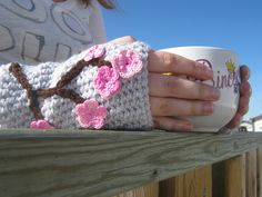 Ravelry: Charming Cherry Blossom Fingerless Mitts pattern by Lisa Jelle