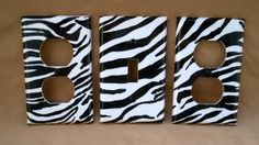Zebra Stripe Black and White Light Switch and Outlet Cover Set_    Zebra stripe room decor light switch set, perfect bedroom decor! **3 piece set** 1 light switch 2 outlet covers Need another size or configuration? An extra switch or outlet cover? _ $8.00 available at etsy.com