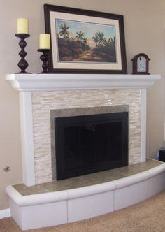 Tile Fireplace Mantels marble tile fireplace if brick doesn't go all the way to ceiling