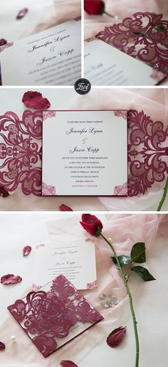 Burgundy Laser Cut Wrap with lace pattern invitation in raised UV Printing Budget Wedding, Fall Wedding, Dream Wedding, Wedding Ideas, Wedding Shit, Formal Wedding Invitations, Wedding Favours, Wedding Stationery, Wedding Cards