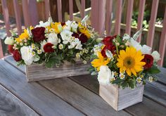 Birthday party flower arrangements with sunflowers red roses white lisianthus and white veronica. Birthday party flower arrangements with sunflowers red roses white lisianthus and white veronica. Sunflower Centerpieces, Sunflower Arrangements, Rose Centerpieces, Beautiful Flower Arrangements, Country Flower Arrangements, Red Rose Arrangements, Quince Decorations, Bridal Shower Decorations, Wedding Decorations