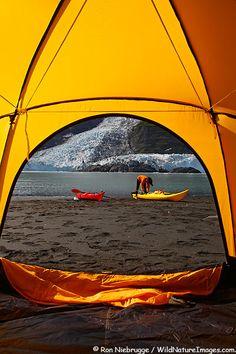 Harriman Fiord, Cascade Glacier (L) and Barry Glacier (R),  Prince William Sound, Chugach National Forest, Alaska