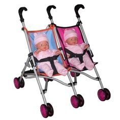 """@Overstock.com - Twin Stroller with (2) 14"""" Dolls - Any Toddler will delight in this doll stroller. Stroller and twin dolls included. Folds easily for storage. A great gift that they will cherish.  http://www.overstock.com/Sports-Toys/Twin-Stroller-with-2-14-Dolls/6361815/product.html?CID=214117 $38.99"""