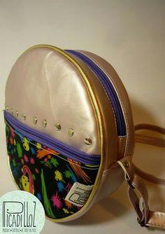 Bolso cuerina más tela circular