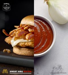 When it comes to flavor, it's all about the right blend of ingredients. Take the Sweet BBQ Bacon Signature Crafted Sandwich. It comes layered with BBQ sauce made with sweet onions, Applewood smoked bacon, grilled & crispy onions, and smooth white cheddar. Try one at participating McDonald's for a limited time.