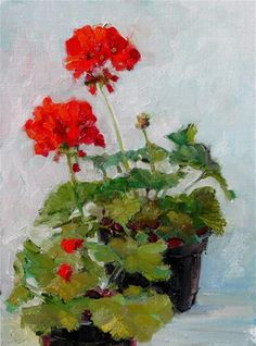"""Two Pots of Geraniums,"" Daily Paintworks - still life, oil painting, - Original Fine Art for Sale - © Joy Olney Acrylic Flowers, Oil Painting Flowers, Oil Painting Abstract, Watercolor Flowers, Oil Paintings, Floral Paintings, Oil Painting For Beginners, Still Life Flowers, Still Life Oil Painting"