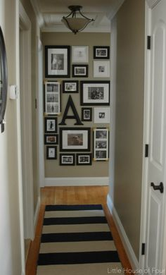 New hallway rug and gallery wall. New hallway rug and gallery wall. I hope you all had a fabulous weekend! I got to spend some quality. Hallway Rug, Upstairs Hallway, Hallway Ideas, Wall Ideas, Hallway Pictures, Wall Photos, Long Hallway, Hanging Pictures On The Wall, Frames Ideas