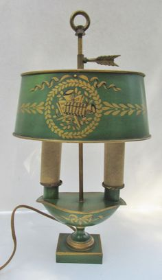 Rare - C. French Cottage, Tole Painting, Lamp Shades, Vintage Green, Red Gold, Chandeliers, Enchanted, Colonial, Brick