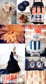 Love the peach signature drink Peach and navy blue wedding