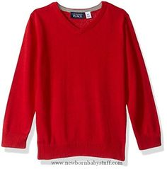 Baby Boy Clothes The Children's Place Baby Boys' Solid V-Neck Sweater, Tango Red, 2T