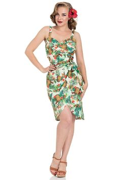 Voodoo Vixen Peggy Tropical 1950 s Vintage Pencil Dress  Amazon.co.uk   Clothing f28d3a95e