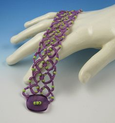 Purple and Lime Tatted Bracelet ♥ tatting