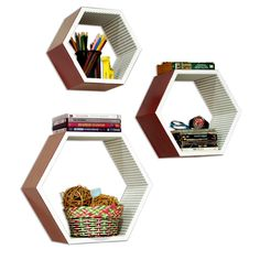 TheDealCutters - Brilliant Sunshine Hexagon Leather Floating Wall Shelf (Set of 3) (http://stores.thedealcutters.com/brilliant-sunshine-hexagon-leather-floating-wall-shelf-set-of-3/) #homedecor #wallingshelves #floatingwallshelves #DIY #homeaccents #decor