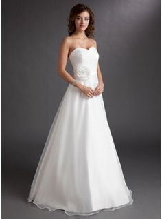 Wedding Dresses - $165.99 - A-Line/Princess Sweetheart Floor-Length Organza Satin Wedding Dress With Ruffle Flower(s)  http://www.dressfirst.com/A-Line-Princess-Sweetheart-Floor-Length-Organza-Satin-Wedding-Dress-With-Ruffle-Flower-S-002016728-g16728