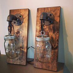 Industrial/Rustic/Modern Wood Handmade Mason Jar 1 Light Fixture