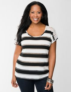 f41065abd Lace Shoulder Striped Tee by Lane Bryant | Lane Bryant Trendy Plus Size  Clothing, Plus