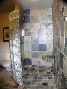 Doorless shower stall ( and no curtain) really like this idea, less to clean