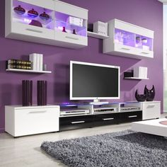 Orren Ellis Cerie Floating Entertainment Center for TVs up to 88 inches Color: White/Black Room Design Bedroom, Room Ideas Bedroom, Bedroom Decor, Design Room, Interior Design, Living Room Modern, Living Room Designs, Salons Violet, Purple Rooms