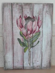 Protea on slatted wood, wash background!