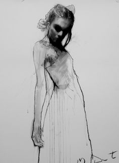 Chloe Standing / Chloe Standing / 81 x 61 cm / Mixed Media, Collage, Paper / 2012 Gesture Drawing, Life Drawing, Drawing Sketches, Art Drawings, Figure Drawings, Mark Demsteader, Ligne Claire, Figure Sketching, Art For Art Sake