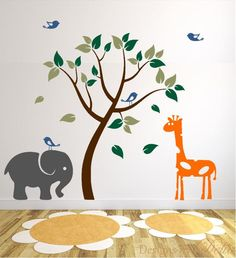 Kids Wall Decal with Tree and Jungle Animals