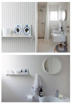 should have hexagon tiles for master bathroom- I like white ones too.