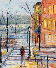 Original Oil painting Montmartre Paris palette knife by Karensfineart