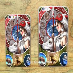 Princess Mononoke No Los Miyazaki Art Pattern hard transparent clear Cover Case for iPhone 4 4s 5 5s 5c 6 6s 6 Plus