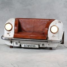 Classic Car Sofa Couch Design Front Rear End recycled and reclaimed Furniture Made From Vintage Cars Parts Recycled into seats and Leather Reclaimed. Themed Classic Car Seating By Smithers of Stamford Car Part Furniture, Automotive Furniture, Automotive Decor, Bench Furniture, Furniture Design, Wooden Shipping Crates, Metal Sofa, Car Sofa, Couch Sofa