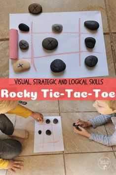 Rocky Tic Tac Toe- a classic game turned into an outside(or inside) game using rocks! Nature Activities, Infant Activities, Activities For Kids, Outdoor Activities, Games For Toddlers, Toddler Games, Inside Games, Diy Bird Feeder, Tic Tac Toe