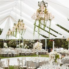 Outdoor, tented reception area & dancefloor -white tent with floral