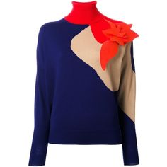 Delpozo Appliqué Detail Jumper ($783) ❤ liked on Polyvore featuring tops, sweaters, blue, jumpers sweaters, multicolor sweater, merino wool tops, blue top and multi colored sweater