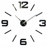 3D Nalepovacie hodiny DIY ADMIRABLE XL SWEEP z540g, čierne 100-130cm Black Dots, Black Silver, Diy Clock, Cladding, Mirror, 3d, Mirrors