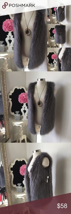🌺 Kensie  Beautiful Grey Faux Fur Vest 🌺 Kensie  Beautiful Grey Faux Fur Vest - Open Front Style - Fabulous & Soft  $65 New w/ Tags  Size : Small  Fabric : 57% Modacrylic - 27% Acrylic - 16% Polyester  🌺 Accessories Not Included But Are also for Sale  Please Check out my Other Items in my GIRLe B Posh Shoppe'  Like us on FB   www.facebook.com/girleboutique Thanks For Looking & Always Let your Clothes get All the Attention 💋 ❌⭕️, Christina Kensie Jackets & Coats Vests